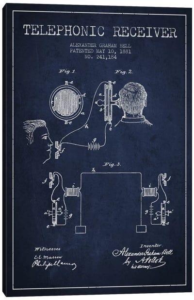 Telephonic Receiver Navy Blue Patent Blueprint Canvas Art Print