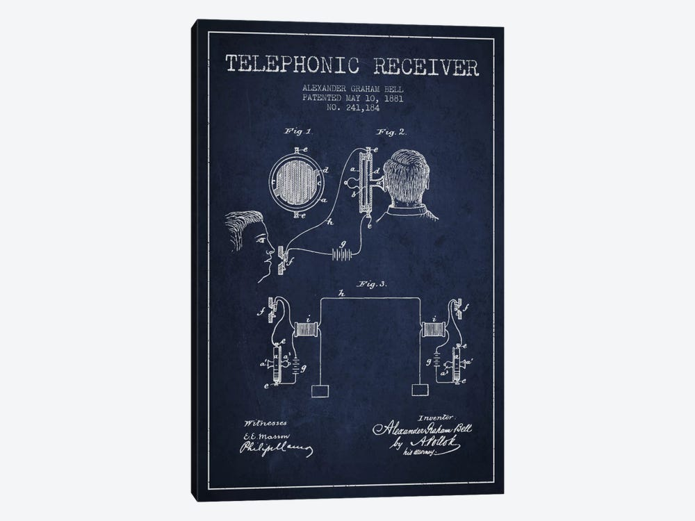 Telephonic Receiver Navy Blue Patent Blueprint by Aged Pixel 1-piece Canvas Art