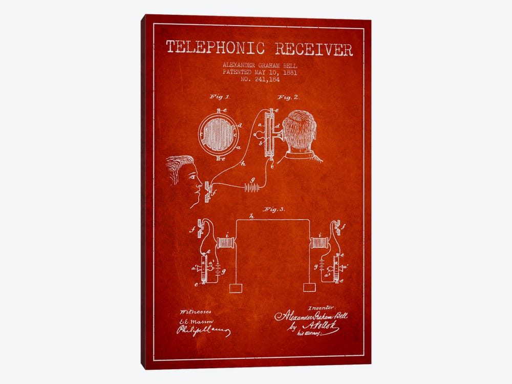 Telephonic Receiver Red Patent Blueprint by Aged Pixel 1-piece Canvas Art Print