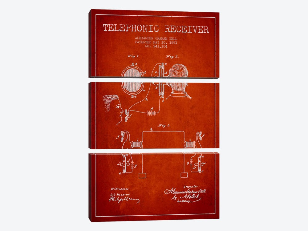 Telephonic Receiver Red Patent Blueprint by Aged Pixel 3-piece Canvas Art Print