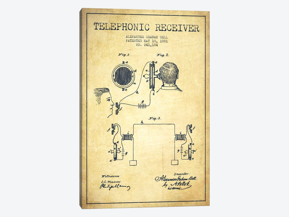Telephonic Receiver Vintage Patent Blueprint by Aged Pixel 1-piece Canvas Art