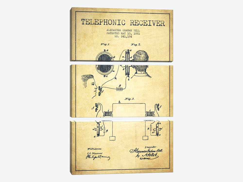 Telephonic Receiver Vintage Patent Blueprint by Aged Pixel 3-piece Canvas Art