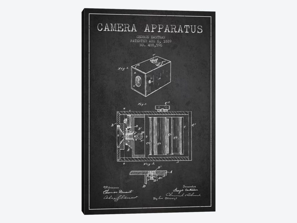 Camera Charcoal Patent Blueprint by Aged Pixel 1-piece Canvas Print