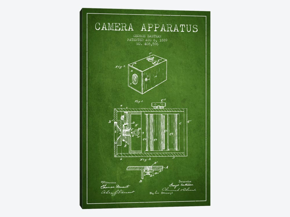 Camera Green Patent Blueprint by Aged Pixel 1-piece Canvas Art