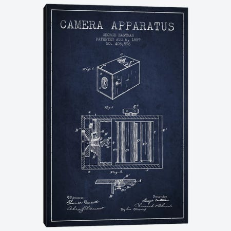 Camera Navy Blue Patent Blueprint Canvas Print #ADP498} by Aged Pixel Canvas Wall Art