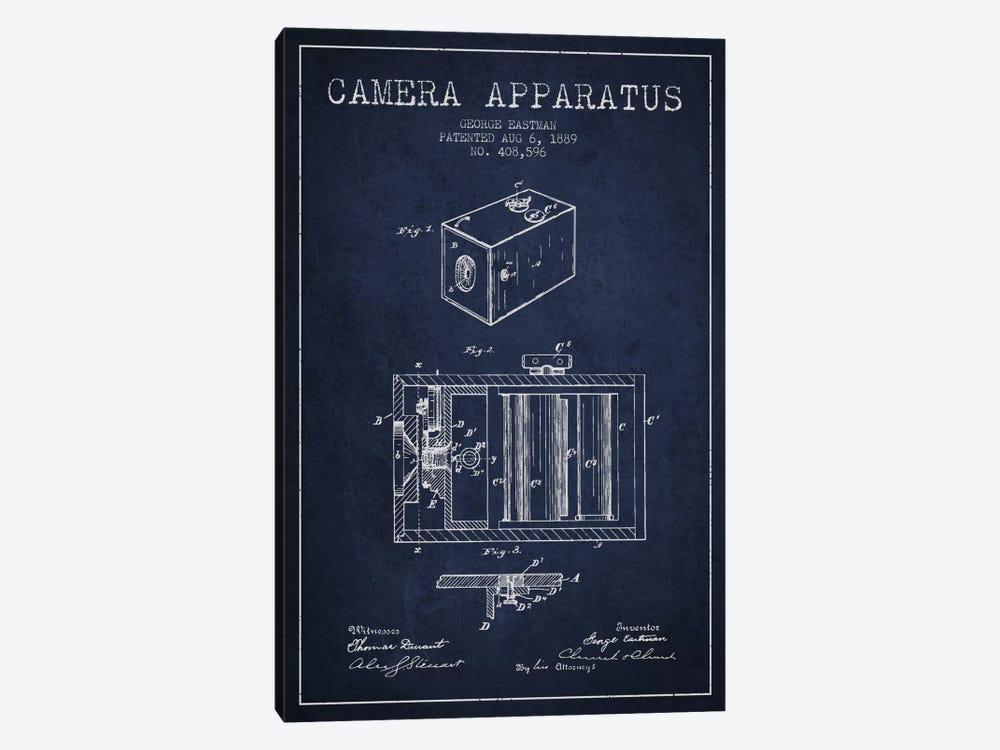 Camera Navy Blue Patent Blueprint by Aged Pixel 1-piece Canvas Art Print