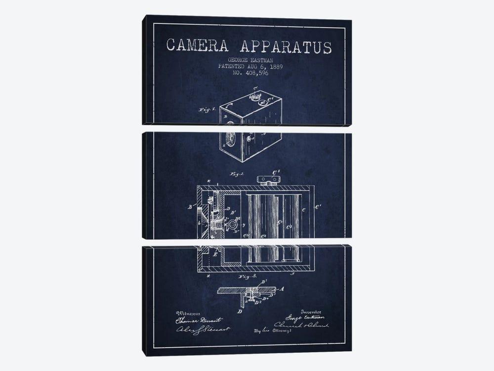 Camera Navy Blue Patent Blueprint by Aged Pixel 3-piece Canvas Art Print