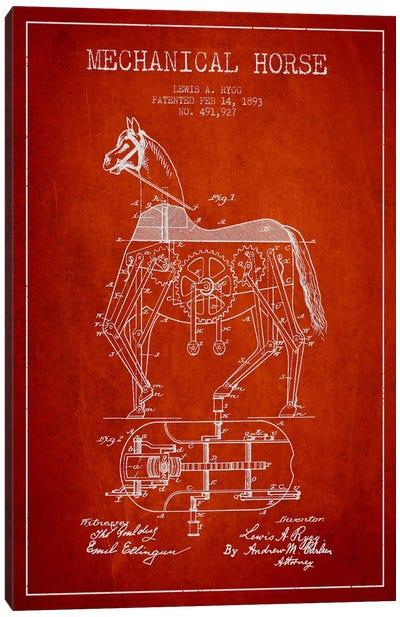 Mechanical Horse Red Patent Blueprint Canvas Print #ADP49