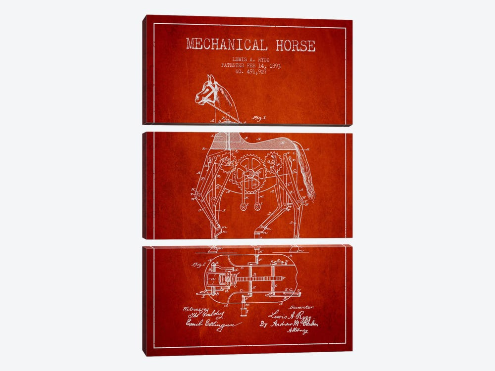Mechanical Horse Red Patent Blueprint by Aged Pixel 3-piece Canvas Artwork