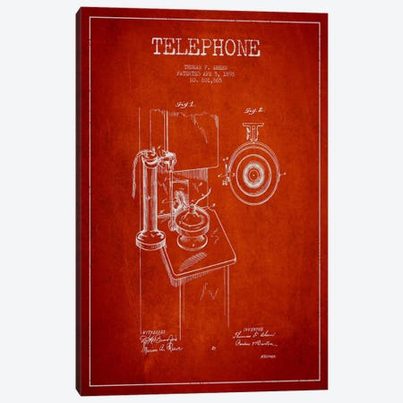 Ahern Telephone Red Patent Blueprint Canvas Print #ADP4} by Aged Pixel Canvas Artwork