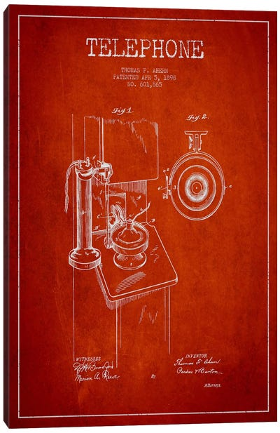 Ahern Telephone Red Patent Blueprint Canvas Art Print