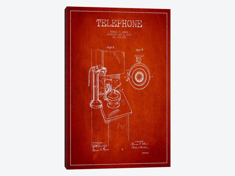 Ahern Telephone Red Patent Blueprint by Aged Pixel 1-piece Canvas Artwork