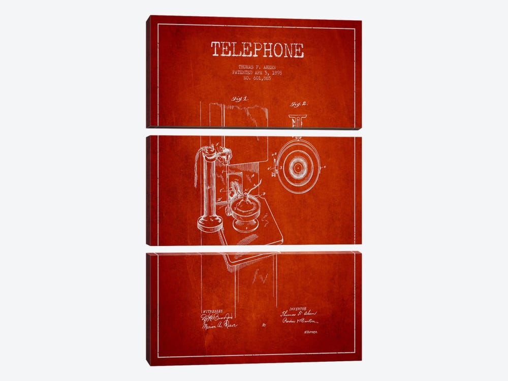 Ahern Telephone Red Patent Blueprint by Aged Pixel 3-piece Canvas Artwork