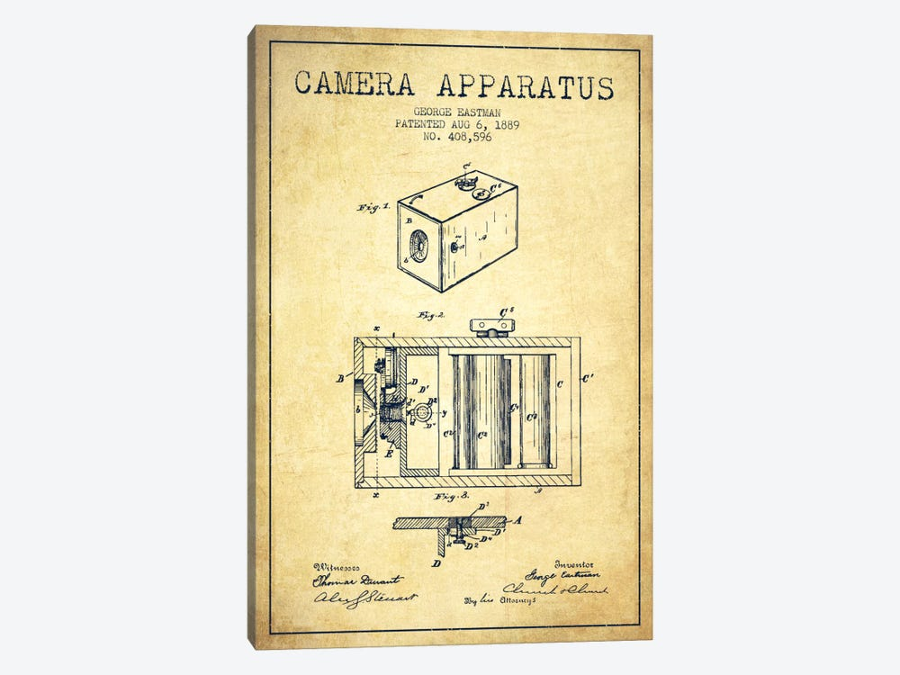 Camera Vintage Patent Blueprint by Aged Pixel 1-piece Art Print