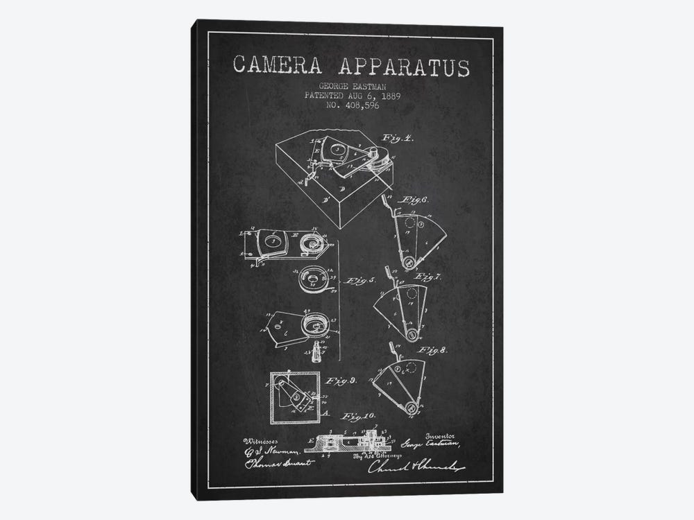 Camera Charcoal Patent Blueprint by Aged Pixel 1-piece Canvas Wall Art