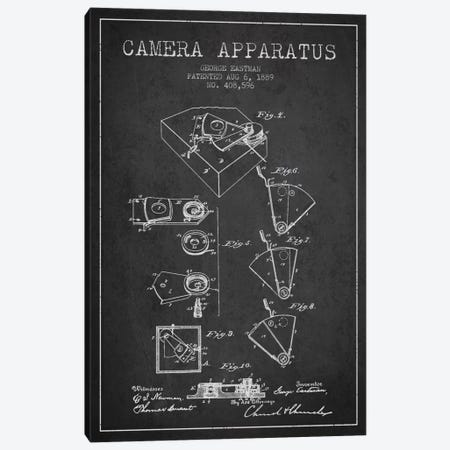Camera Charcoal Patent Blueprint Canvas Print #ADP501} by Aged Pixel Canvas Wall Art