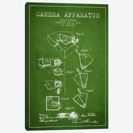 Camera Green Patent Blueprint Canvas Print #ADP502} by Aged Pixel Canvas Art