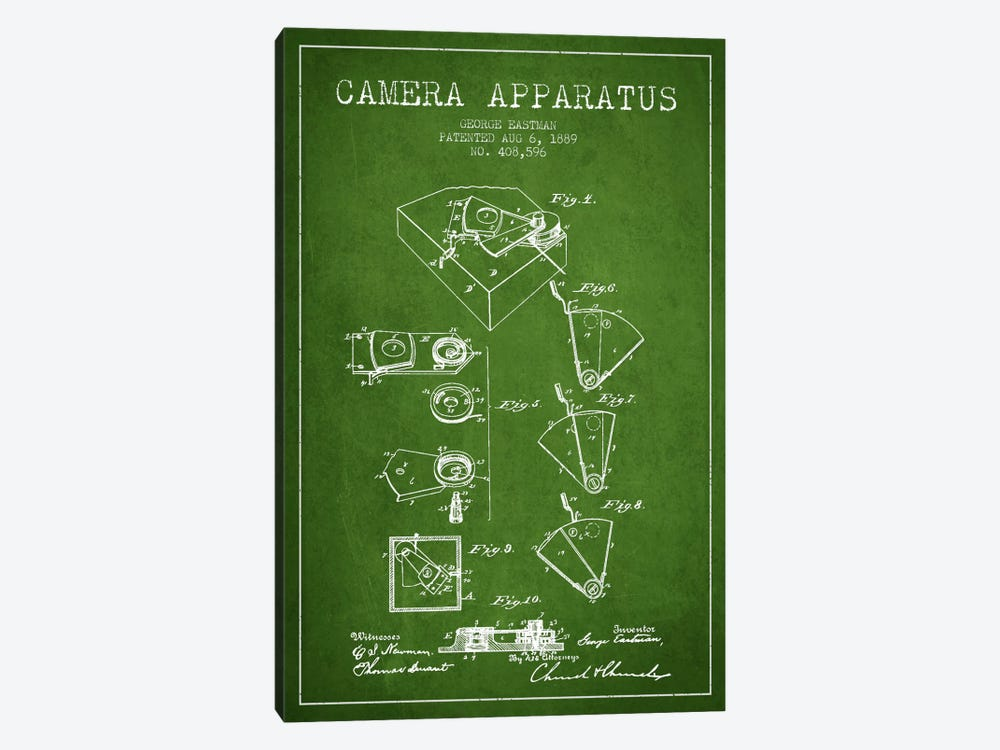 Camera Green Patent Blueprint by Aged Pixel 1-piece Canvas Art Print