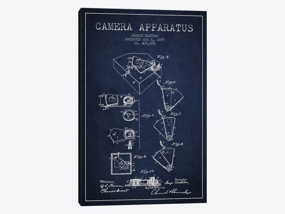 Camera Navy Blue Patent Blueprint 1-piece Canvas Artwork