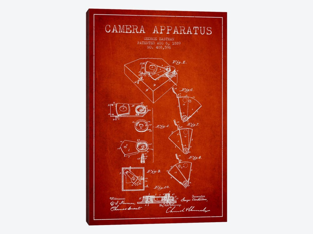 Camera Red Patent Blueprint by Aged Pixel 1-piece Canvas Art Print