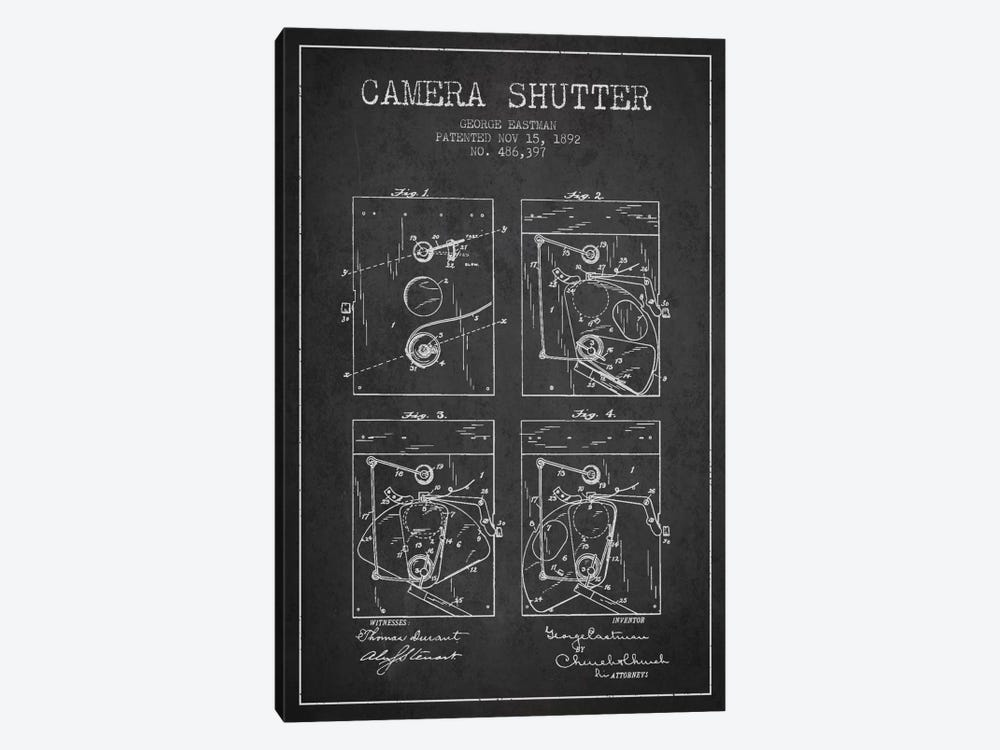 Camera Shutter Charcoal Patent Blueprint by Aged Pixel 1-piece Art Print