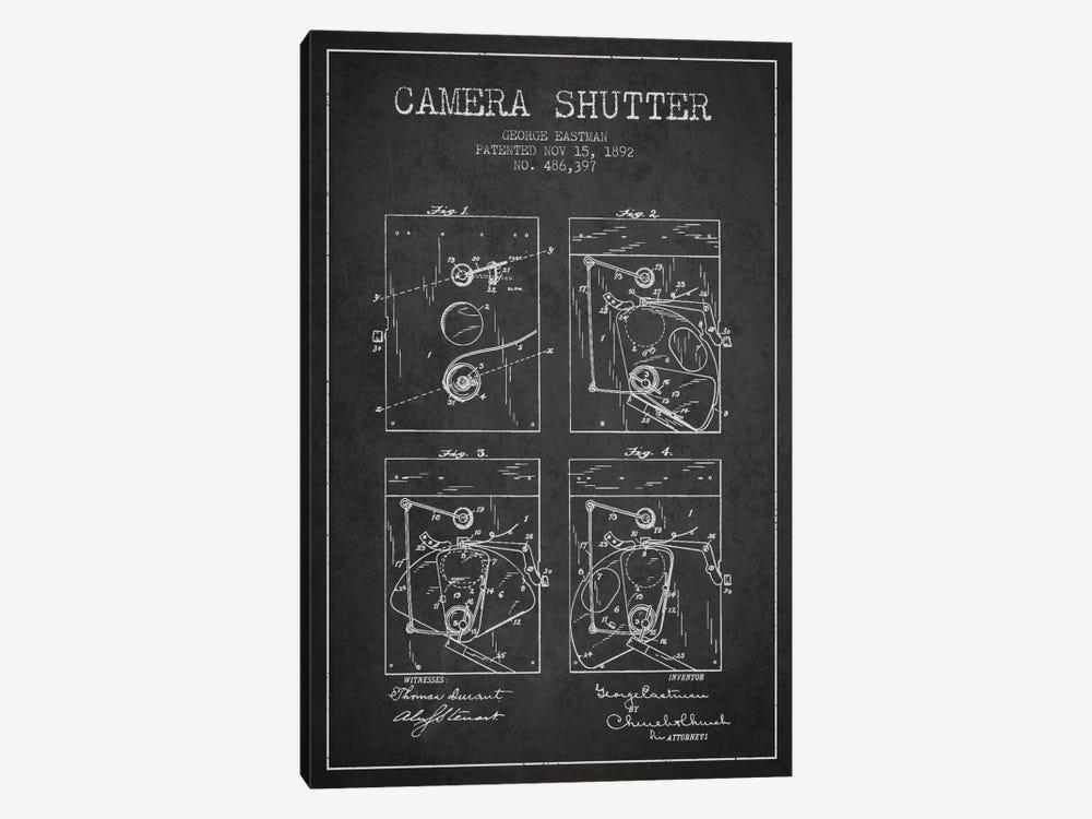 Camera Shutter Charcoal Patent Blueprint by Aged Pixel 1-piece Art Print