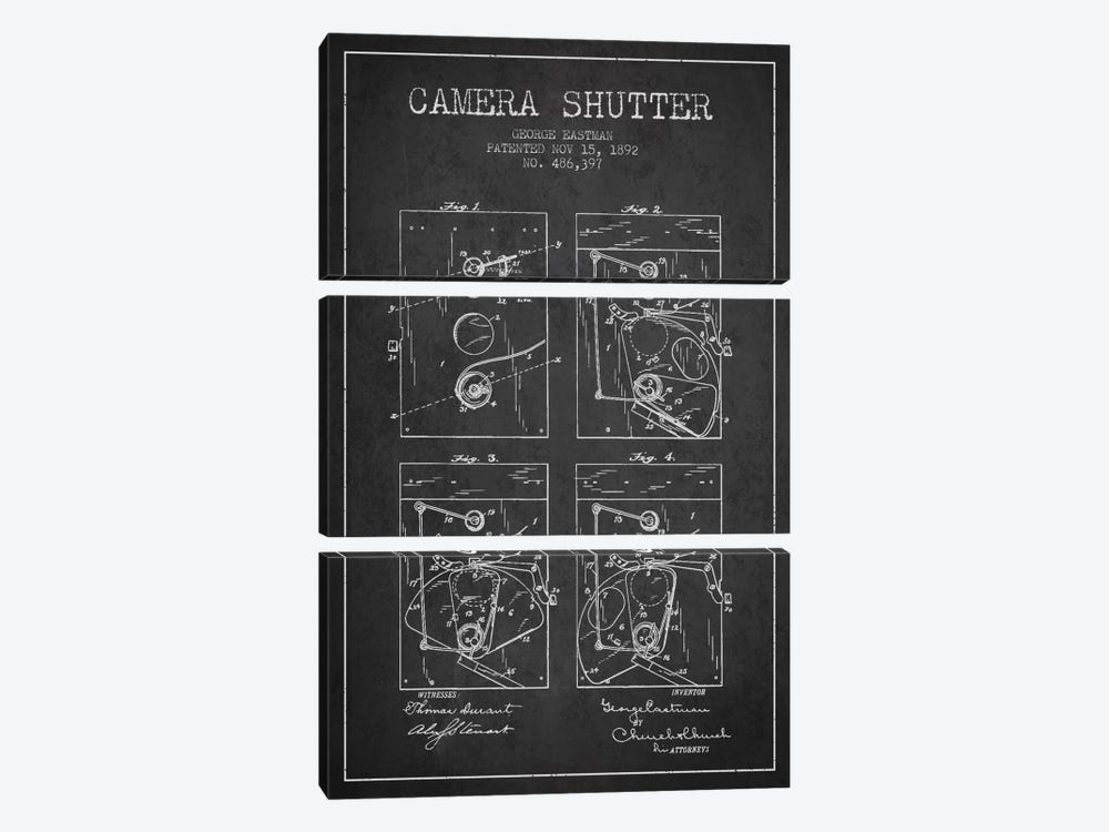 Camera Shutter Charcoal Patent Blueprint by Aged Pixel 3-piece Canvas Print