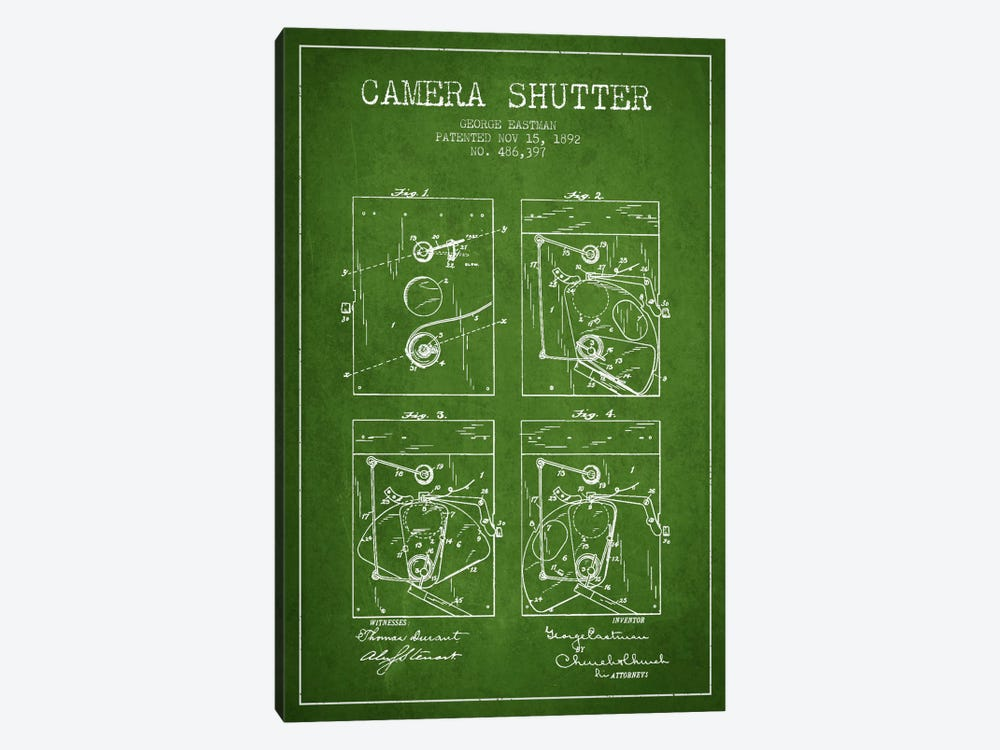 Camera Shutter Green Patent Blueprint by Aged Pixel 1-piece Canvas Wall Art