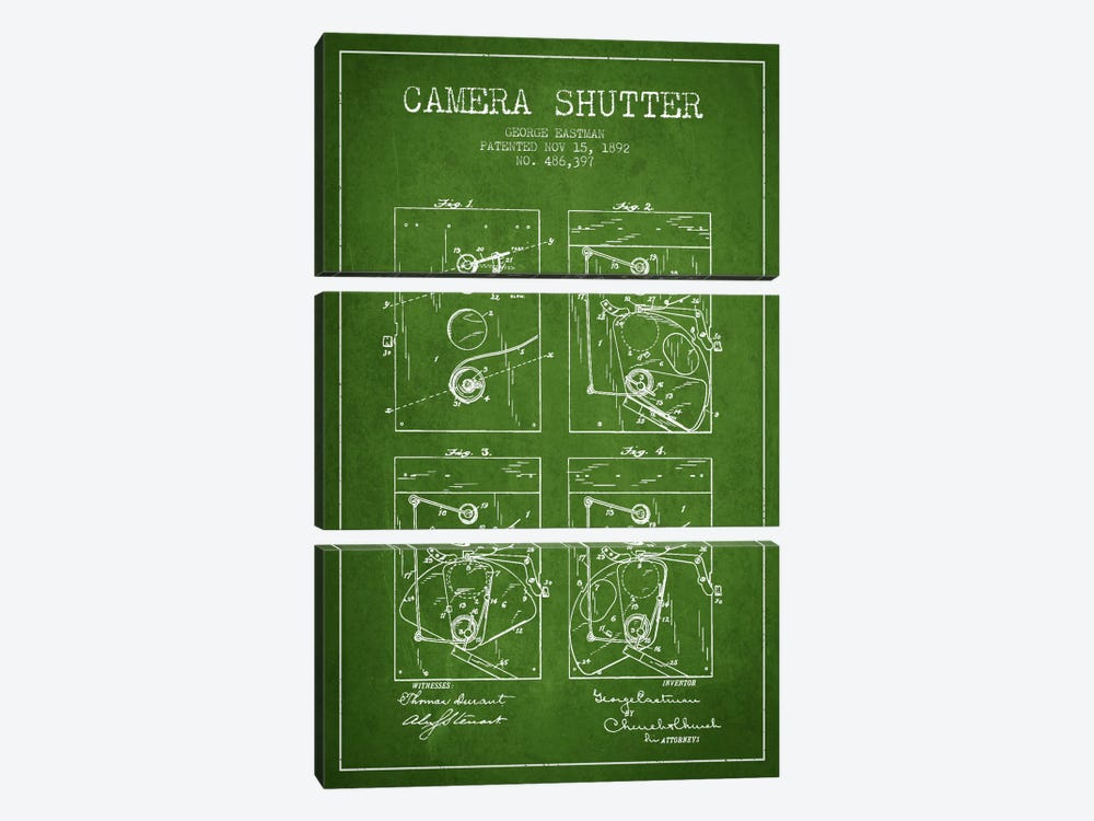 Camera Shutter Green Patent Blueprint by Aged Pixel 3-piece Canvas Wall Art