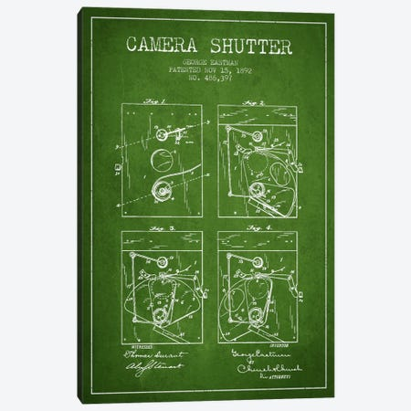 Camera Shutter Green Patent Blueprint Canvas Print #ADP507} by Aged Pixel Canvas Art Print