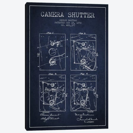 Camera Shutter Navy Blue Patent Blueprint Canvas Print #ADP508} by Aged Pixel Canvas Artwork