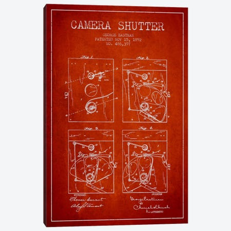 Camera Shutter Red Patent Blueprint Canvas Print #ADP509} by Aged Pixel Canvas Wall Art