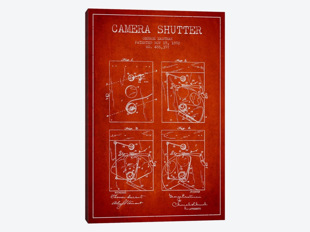 Camera Shutter Red Patent Blueprint by Aged Pixel 1-piece Canvas Wall Art