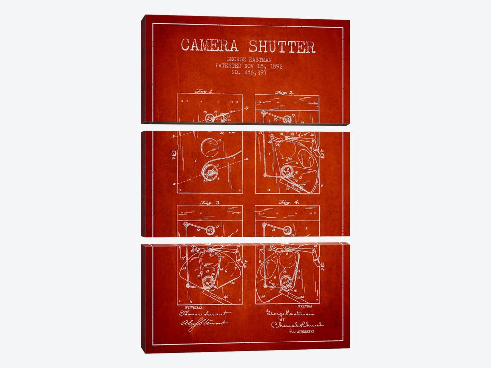 Camera Shutter Red Patent Blueprint by Aged Pixel 3-piece Canvas Art