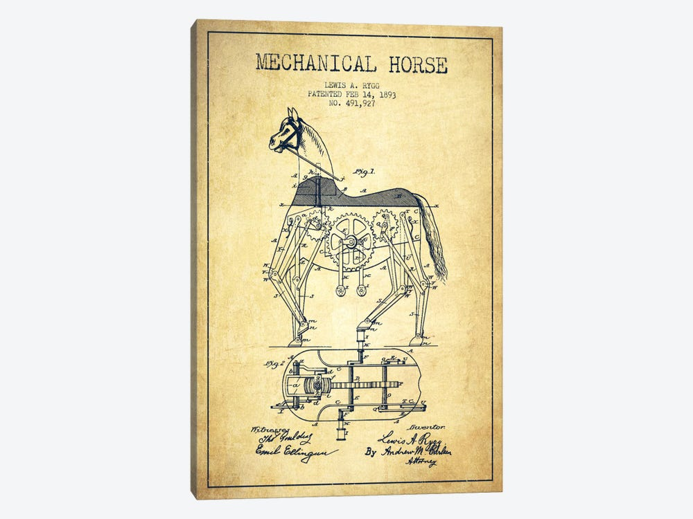 Mechanical Horse Vintage Patent Blueprint by Aged Pixel 1-piece Canvas Wall Art