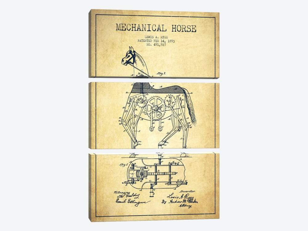 Mechanical Horse Vintage Patent Blueprint by Aged Pixel 3-piece Canvas Art