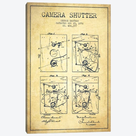 Camera Shutter Vintage Patent Blueprint Canvas Print #ADP510} by Aged Pixel Canvas Art Print