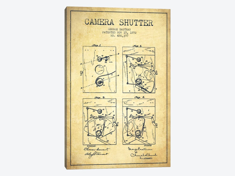 Camera Shutter Vintage Patent Blueprint by Aged Pixel 1-piece Canvas Art
