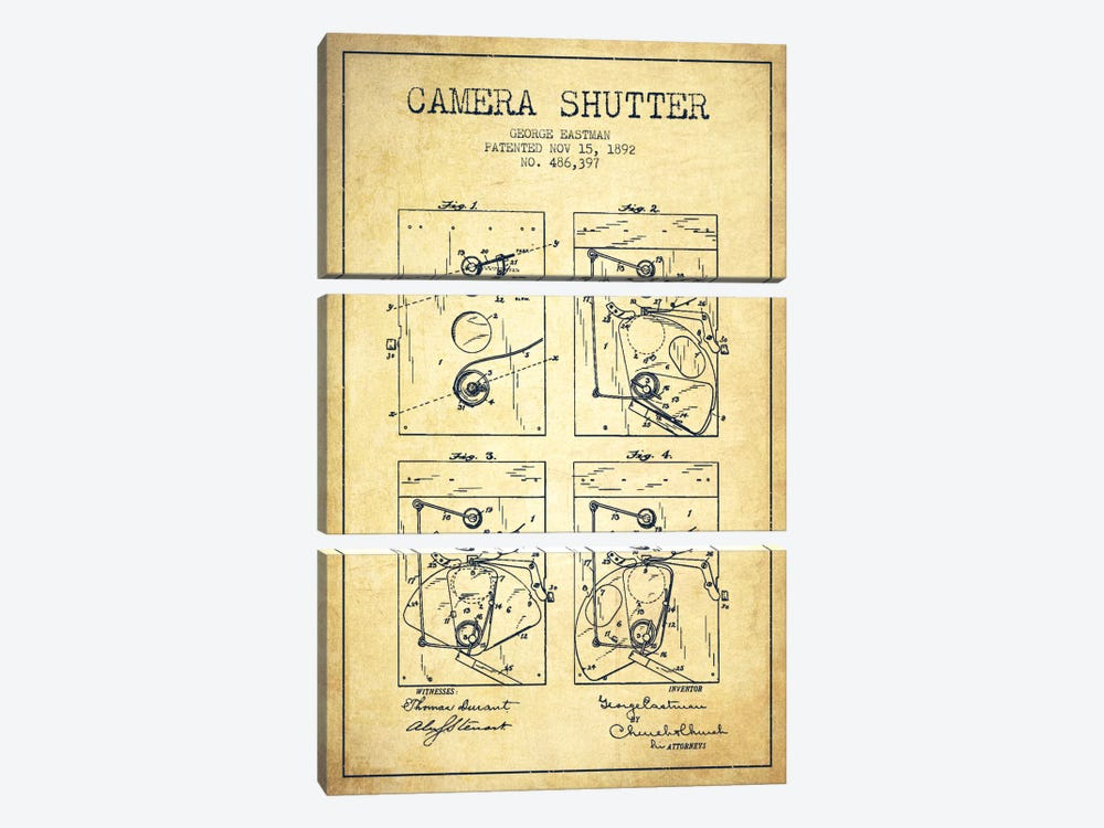 Camera Shutter Vintage Patent Blueprint by Aged Pixel 3-piece Canvas Artwork