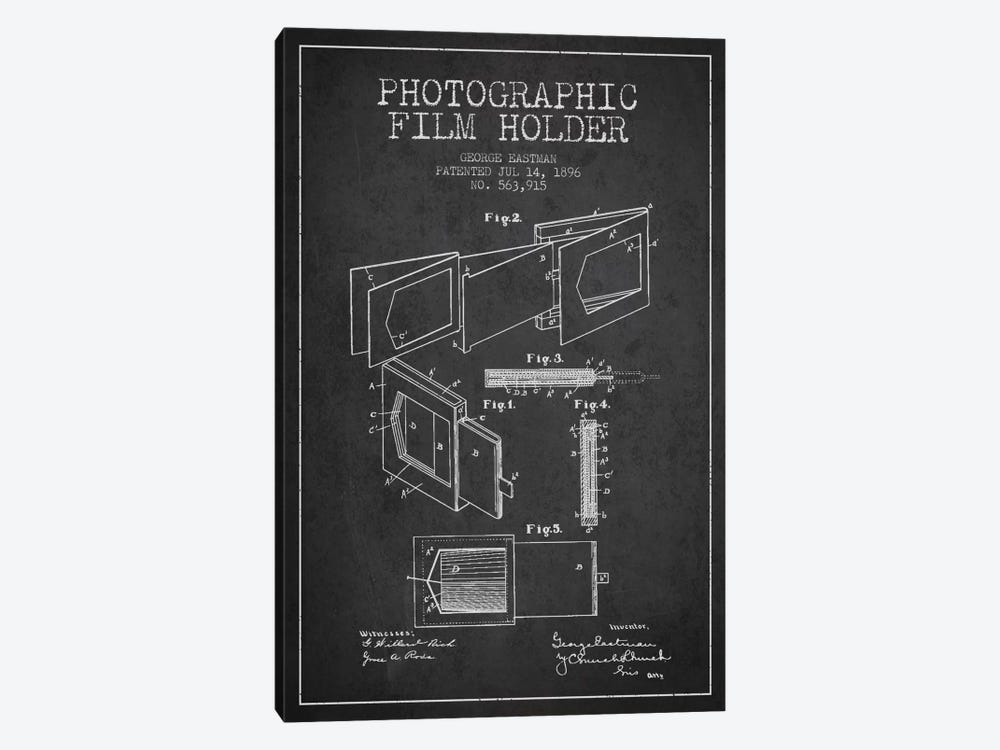 Film Holder Charcoal Patent Blueprint by Aged Pixel 1-piece Canvas Print