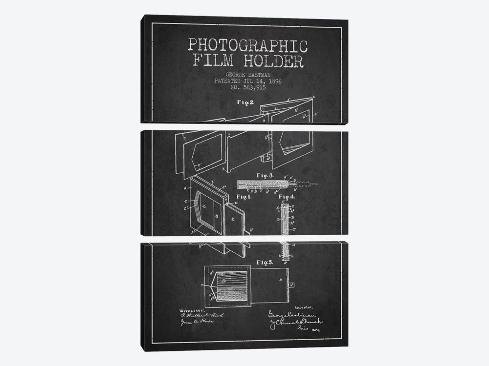 Film Holder Charcoal Patent Blueprint by Aged Pixel 3-piece Canvas Print