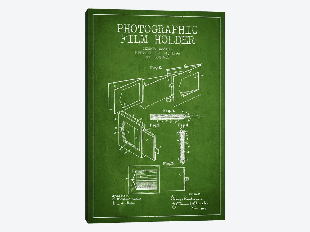 Film Holder Green Patent Blueprint by Aged Pixel 1-piece Canvas Wall Art
