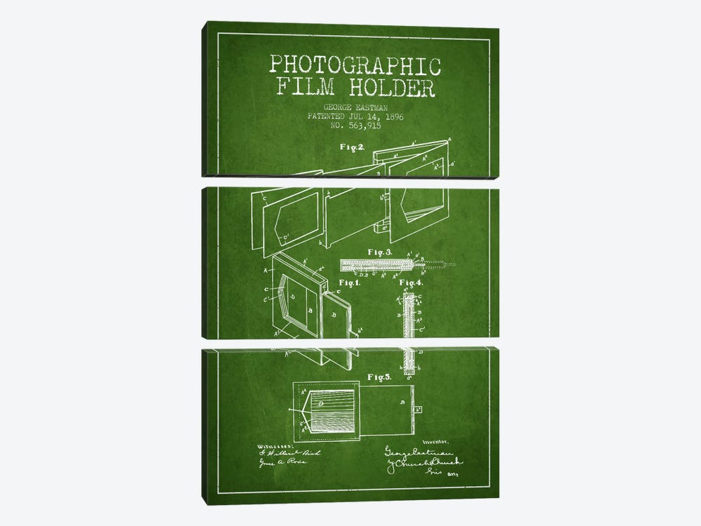 Film Holder Green Patent Blueprint by Aged Pixel 3-piece Canvas Artwork