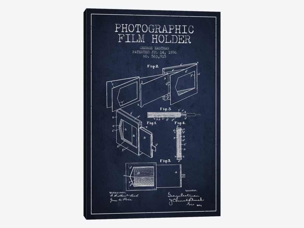 Film Holder Navy Blue Patent Blueprint by Aged Pixel 1-piece Art Print
