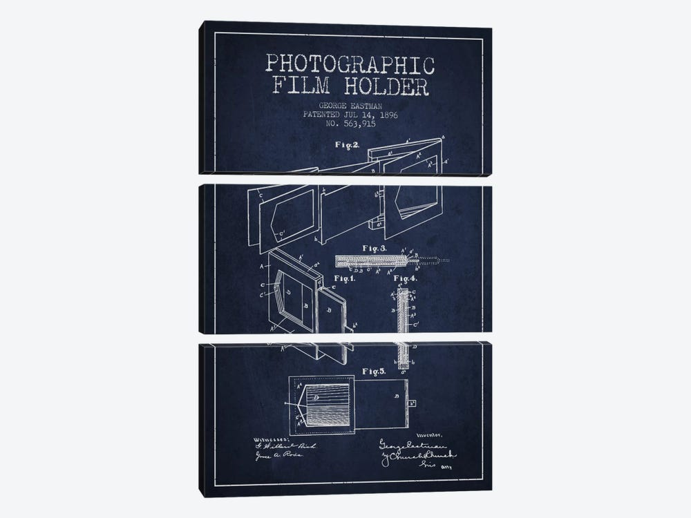 Film Holder Navy Blue Patent Blueprint by Aged Pixel 3-piece Canvas Print