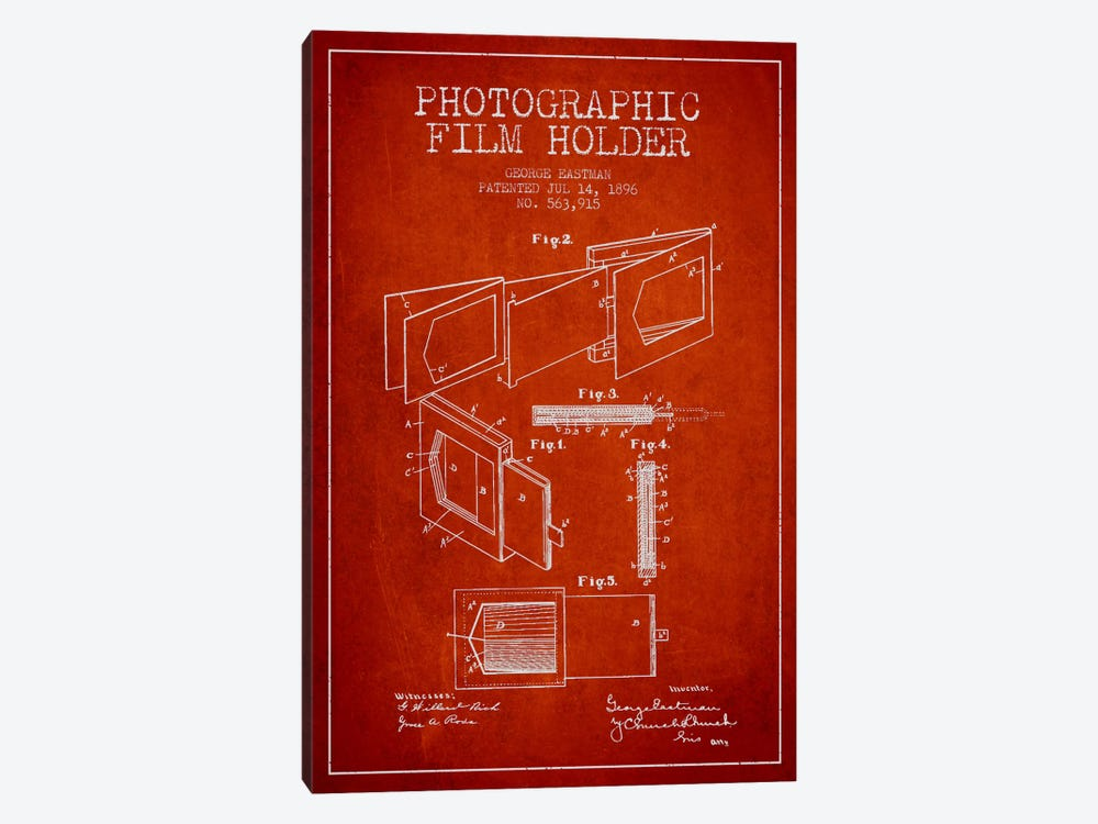 Film Holder Red Patent Blueprint by Aged Pixel 1-piece Canvas Art