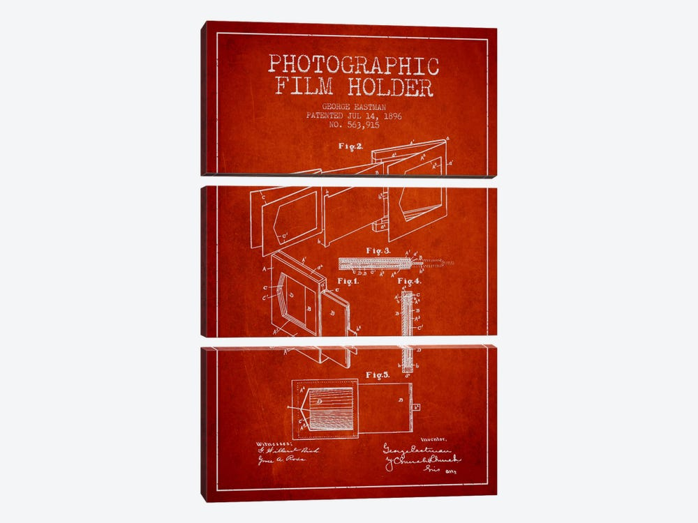 Film Holder Red Patent Blueprint by Aged Pixel 3-piece Canvas Artwork