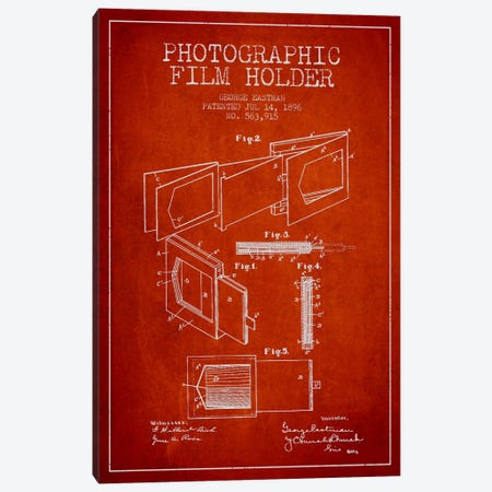 Film Holder Red Patent Blueprint Canvas Print #ADP514} by Aged Pixel Canvas Wall Art