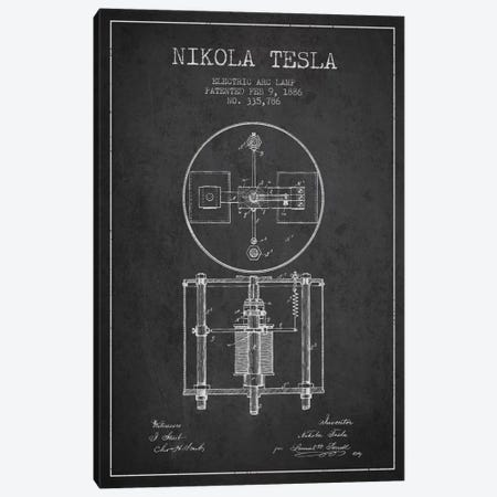 Tesla Arc Lamp Charcoal Patent Blueprint Canvas Print #ADP516} by Aged Pixel Canvas Artwork