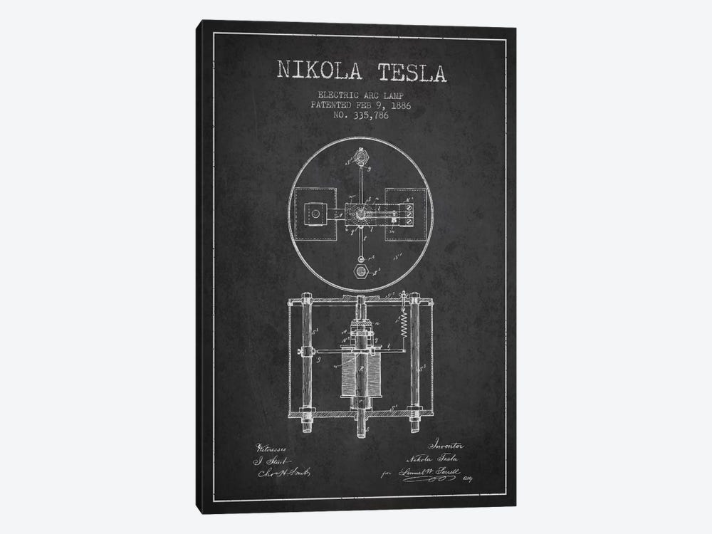 Tesla Arc Lamp Charcoal Patent Blueprint by Aged Pixel 1-piece Canvas Wall Art